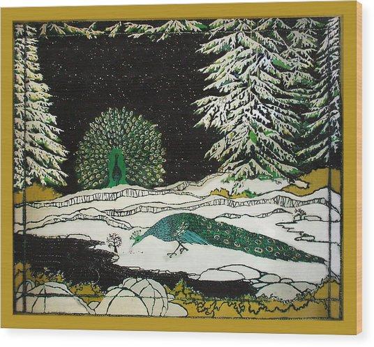 Peacocks In The Snow Wood Print by Alexandra  Sanders