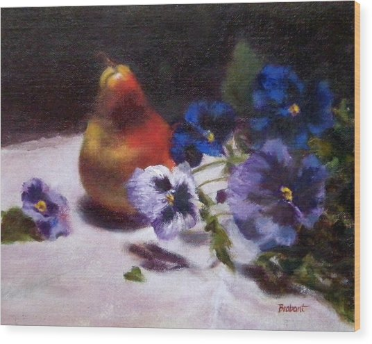Pear With  Purple Pansies Wood Print by Jill Brabant