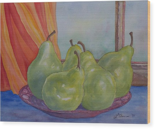 Pears At The Window Wood Print by Laurel Thomson