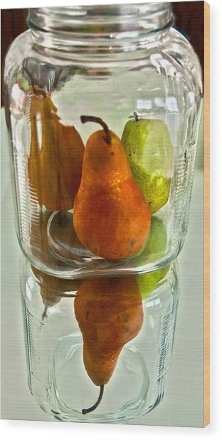 Pears In A Jar Wood Print