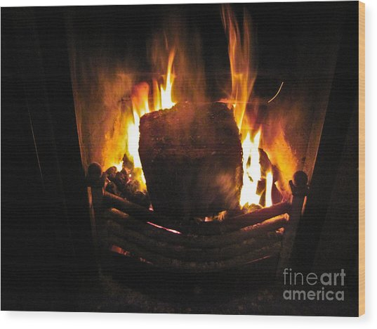 Peat Fire Wood Print by Black Sun Forge
