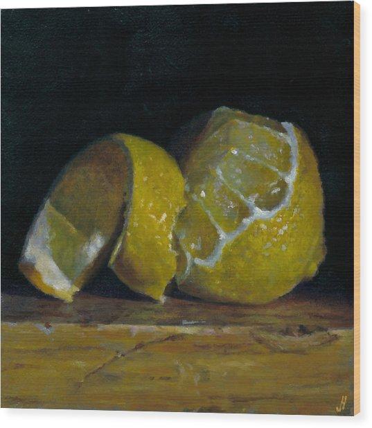 Peeled Lemon Wood Print by Jeffrey Hayes