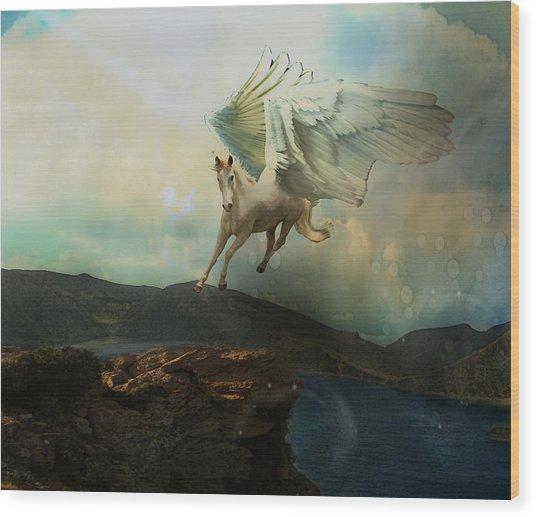 Pegasus Flying Horse Wood Print by Patricia Ridlon