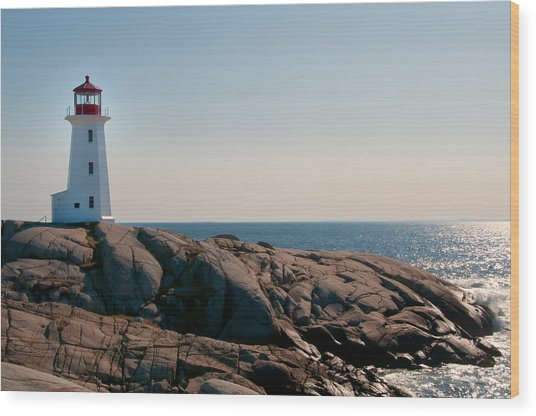 Peggy's Cove Lighthouse Wood Print by Sandra Adamson
