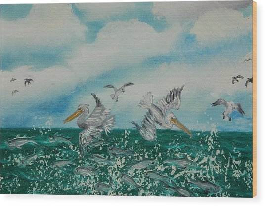 Pelican Feast Wood Print by Katheryn Napier