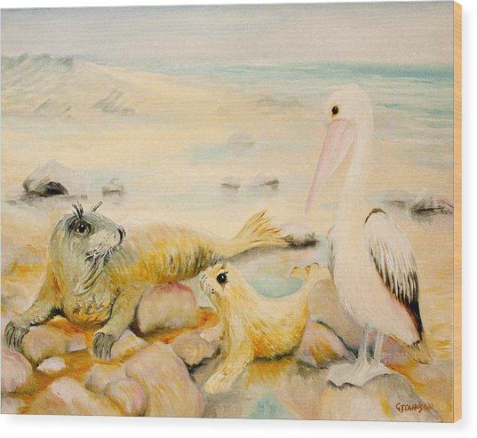 Pelican Muse Wood Print