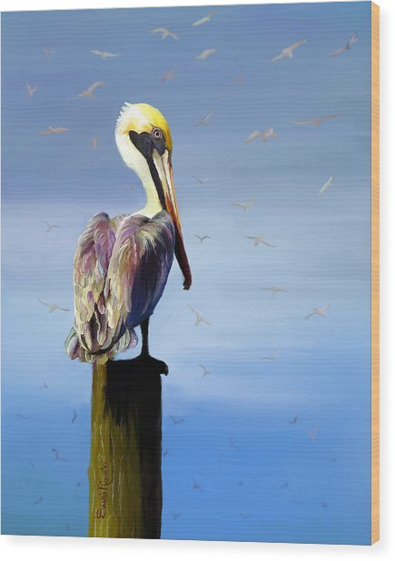 Pelican Perch Wood Print