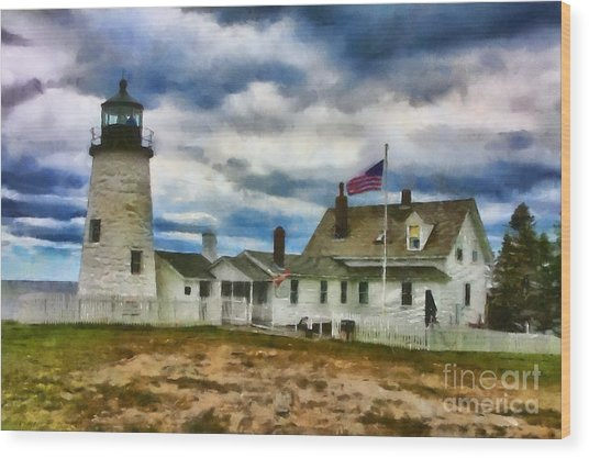 Pemaquid Point Lighthouse In Maine Wood Print