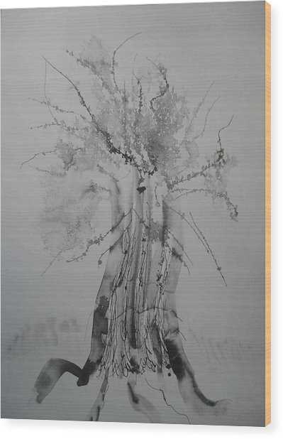 Wood Print featuring the painting Pen And Ink Eleven by AJ Brown