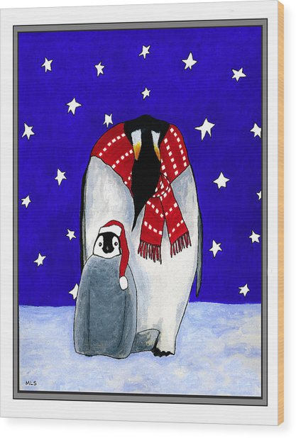 Penguin's First Christmas Wood Print by Marla Saville