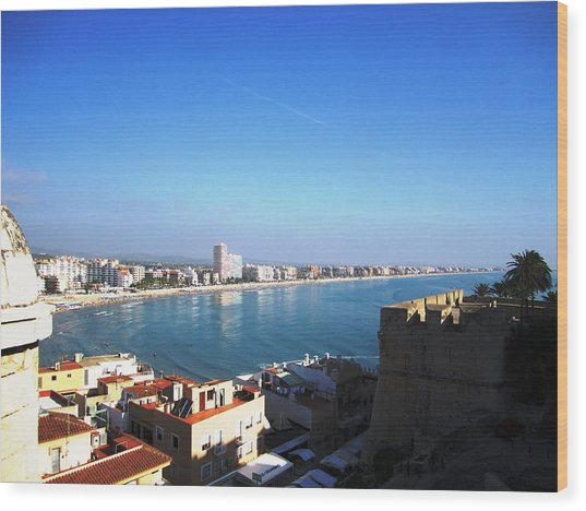 Peniscola Beach Panoramic View Water Reflection At The Mediterranean Water Front Homes In Spain Wood Print