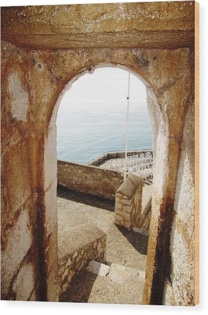 Peniscola Castle Arched Open Doorway Sea View II At The Mediterranean In Spain Wood Print