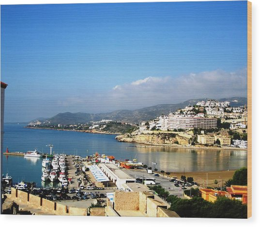 Peniscola Marina Water Reflection Sea View At The Mediterranean Water Front Homes In Spain Wood Print