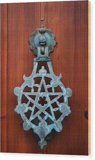 Pentagram Knocker Wood Print