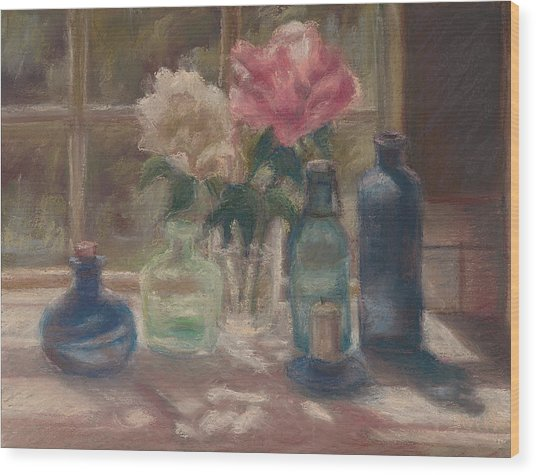 Peonies And Bottles Wood Print by Rita Bentley