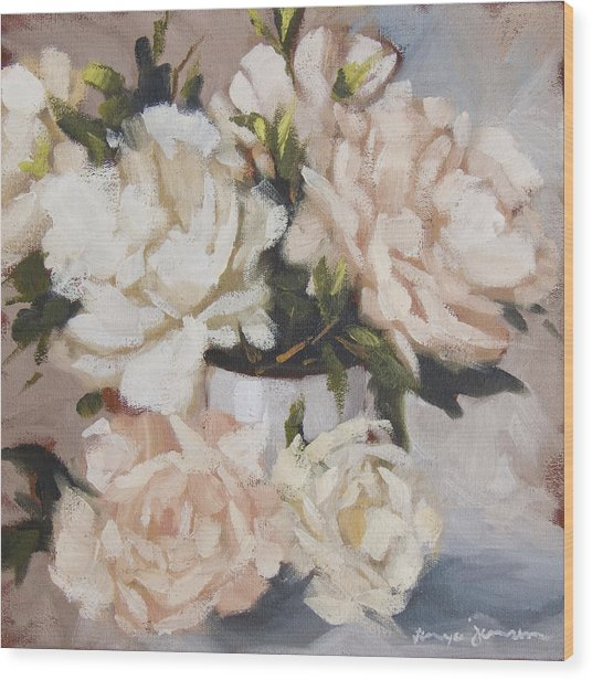 Peonies In White Vase Wood Print