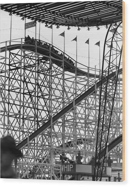 People On Roller Coaster Wood Print by George Marks