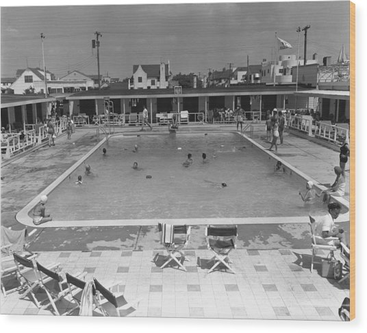 People Swimming In Pool, (b&w), Elevated View Wood Print by George Marks
