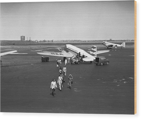 People Walking On Runway, (b&w), Elevated View Wood Print by George Marks