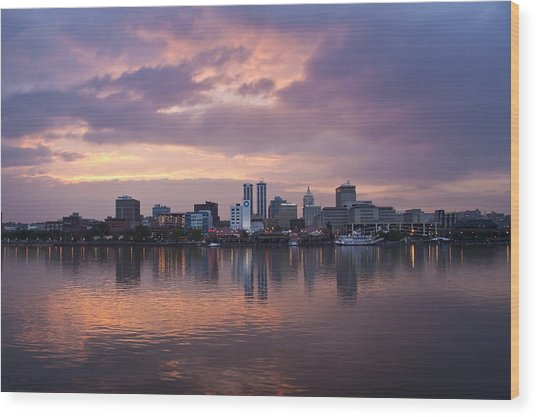 Peoria Skyline Wood Print by Straublund Photography