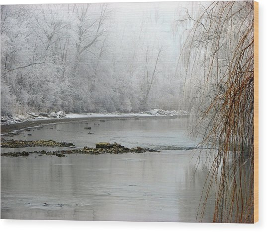 Perch Creek Hoar Frost Wood Print