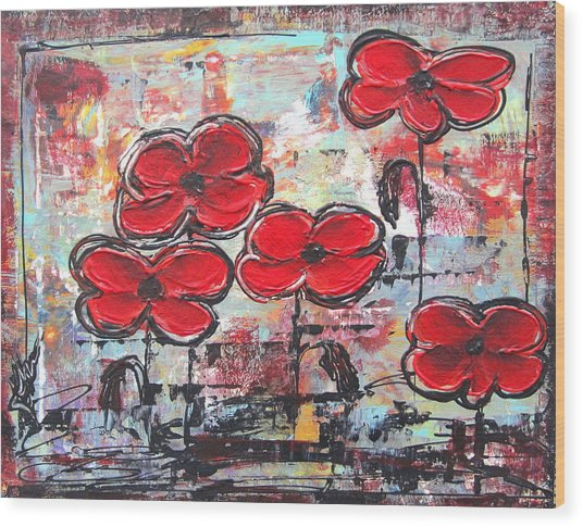Perfect Poppies Wood Print