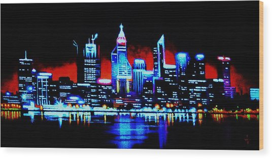 Perth By Black Light   Sold Wood Print