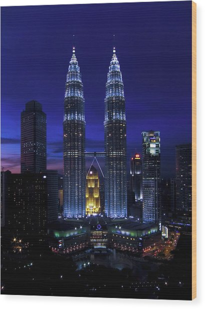 Petronas Towers In Kl Malaysia At Twilight. Wood Print
