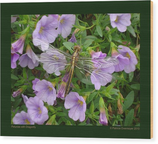 Petunias With Dragonfly Wood Print
