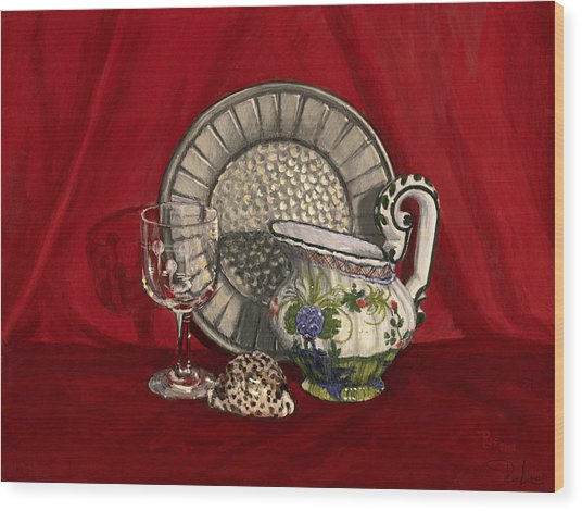 Pewter Dish With Red Cloth. Wood Print