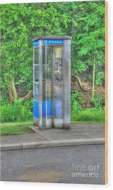 Phone Booth At Eden Park Wood Print