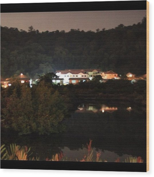 Photo Taken At Night For A Mansion By Wood Print