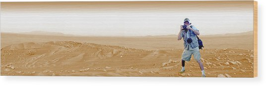 Photographer On Mars Wood Print