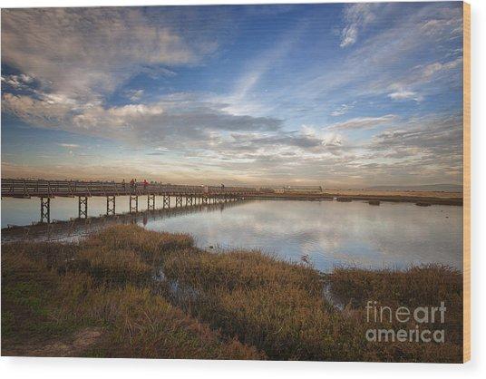 Photographers On Bridge At Sunset Wood Print