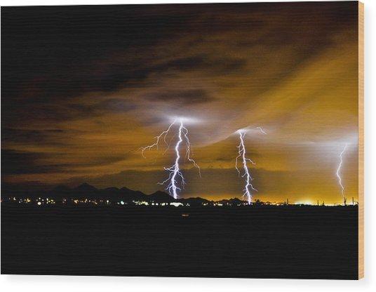 Phx Night Lightning #1 Wood Print by Kenny Jalet