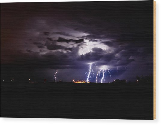 Phx Night Lightning 6 Wood Print by Kenny Jalet