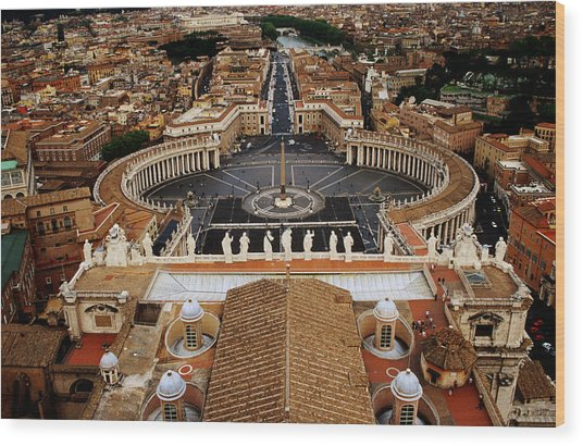 Piazza San Pietro From St Peter Cathedral's Dome, Rome, Italy Wood Print by Witold Skrypczak