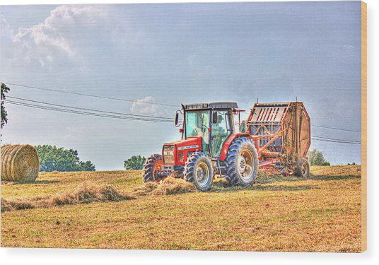 Picking Up Hay Wood Print by Barry Jones