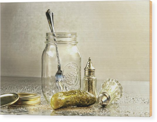 Pickle With A Jar And Antique Salt And Pepper Shakers Wood Print