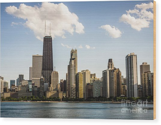 Picture Of Chicago Buildings With Hancock Building Wood Print