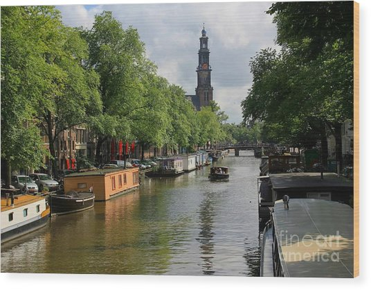Picturesque Amsterdam Wood Print by Sophie Vigneault