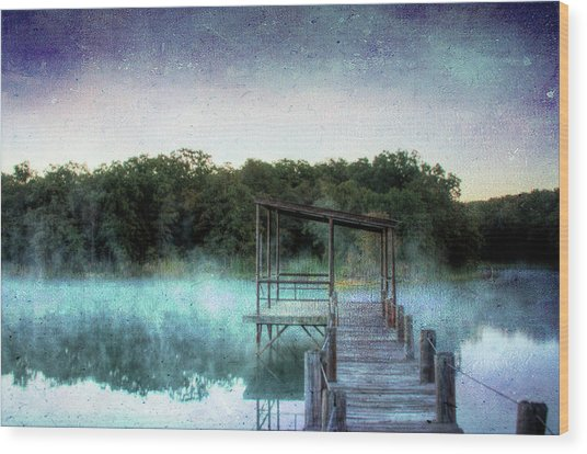 Pier In The Mist Wood Print
