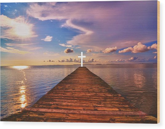 Pier Into Heaven Wood Print