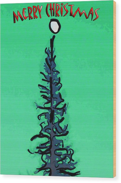 Pine Tree Christmas Wood Print