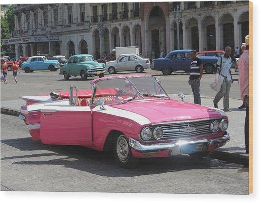 Pink Chevy In Havana Wood Print