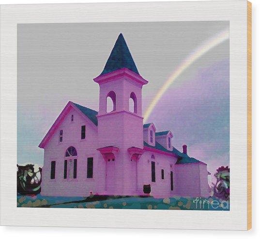 Pink Church With Rainbow Wood Print