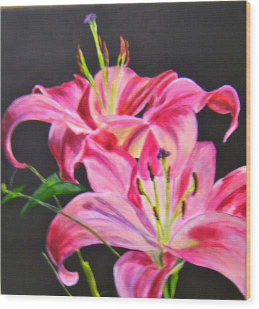 Pink Day Lilies Wood Print