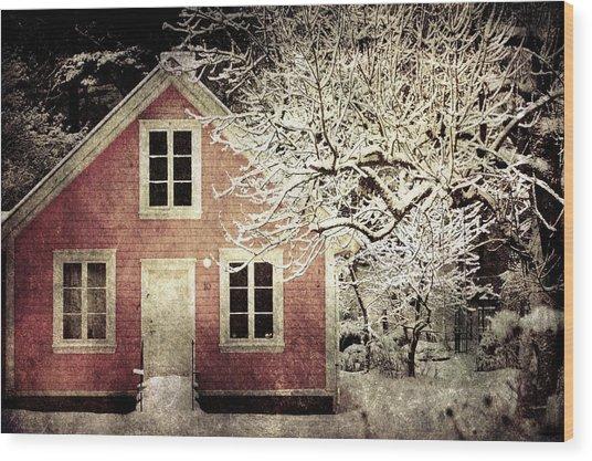 Pink House Wood Print