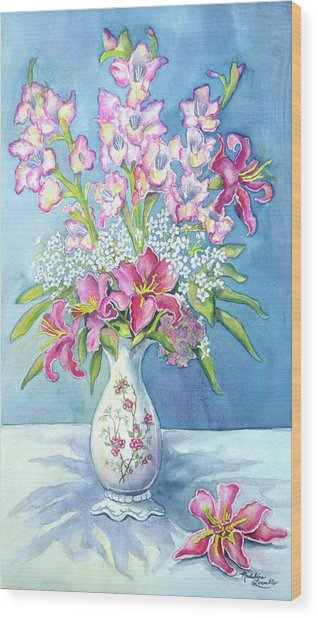 Pink Lillies In A Vase Wood Print