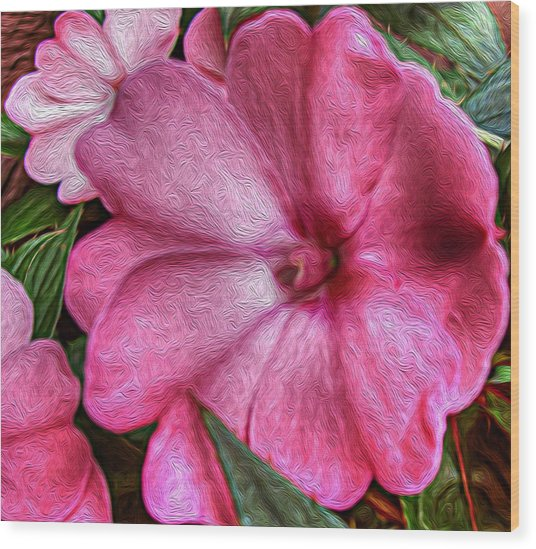 Pink Love Wood Print by Jeanean Gendron